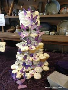 brides butterfly cupcake tower